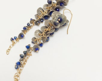 Long Oxidized Silver and Lapis Bell Flower Cascade Earrings