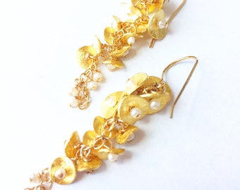 Short Gold and Pearl Bell Flower Cascade.  14 k Gold vermeil , gold fill, special occasion ,wedding, bride, botanical .