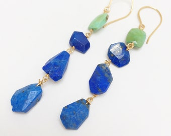 Turquoise and Lapis Lazuli drop Earrings