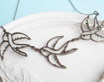 Bird Jewelry - Flock of Birds Necklace