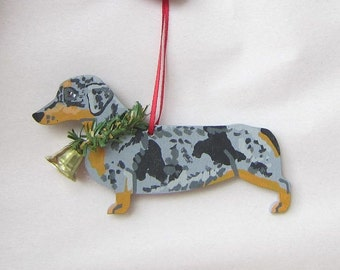 hand painted dachshund silver dapple wood christmas ornamentartist original christmas tree ornament decoration