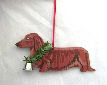 hand painted dachshund longhair red wood christmas ornamentartist original christmas tree ornament decoration