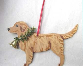 hand painted golden retriever medium color wood christmas ornamentartist original christmas tree ornament decoration