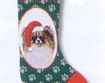 "Vintage Stocking PAPILLON Christmas Holiday Stocking Woven Fabric Hanging Stocking 20"""