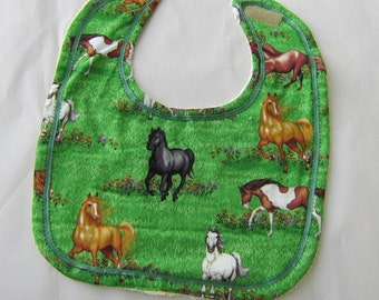 HORSE BREEDS in Meadow Baby Bib Cotton Front/Terry Fabric Back Hook & Loop Closure Handmade...Price reduced