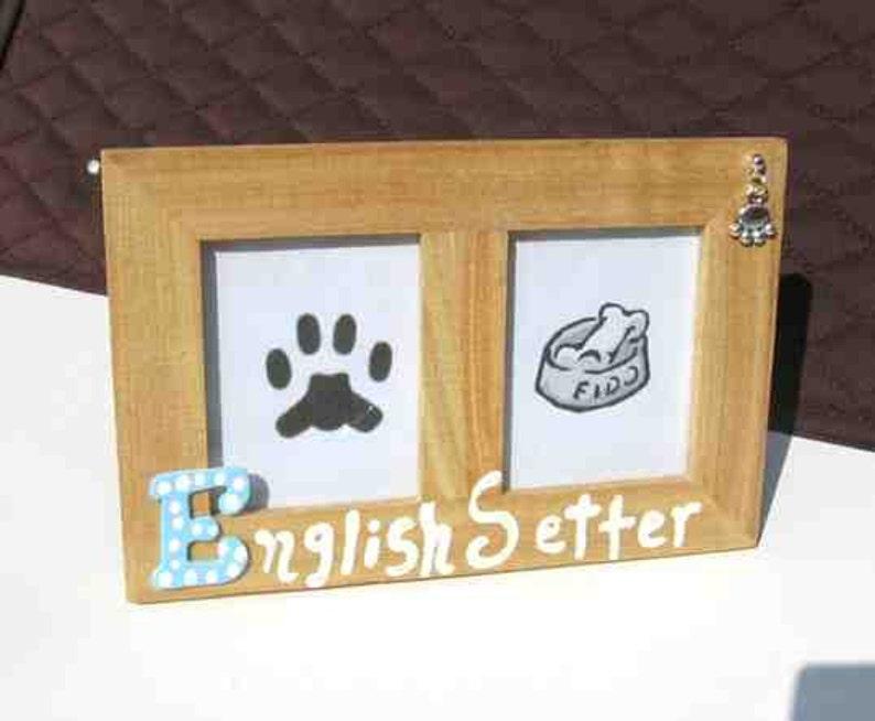 Final Markdown Sale...ENGLISH SETTER Dog Breed Wood Desktop Double Photo Frame wPawprint Charm