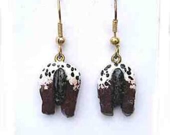 Markdown Sale....Handpainted APPALOOSA Brown Horse REAR Design Clay Earrings