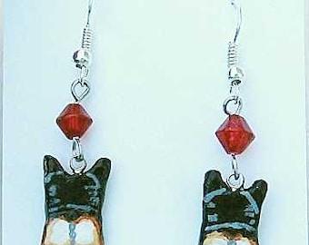 Handpainted WELSH CORGI Tri-Color Rear End Clay Earrings choose bead color
