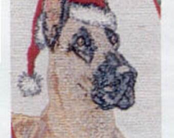 "Vintage Stocking GREAT DANE Christmas Holiday Stocking Woven Fabric Hanging Stocking 20"""