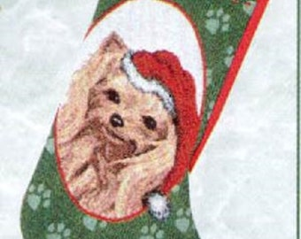"Vintage Stocking YORKSHIRE TERRIER Yorkie Christmas Holiday Stocking Woven Fabric Hanging Stocking 20"""