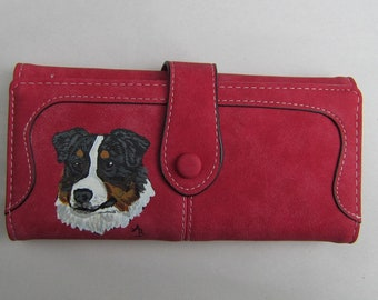 AUSTRALIAN SHEPHERD Tri-color Handpainted Red Color Faux Suede Leather Full Size Ladies Trifold Wallet/Coin....Nicely Painted