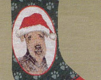 """Vintage Stocking AIREDALE TERRIER Christmas Holiday Stocking Woven Fabric Hanging Stocking 20"""""""