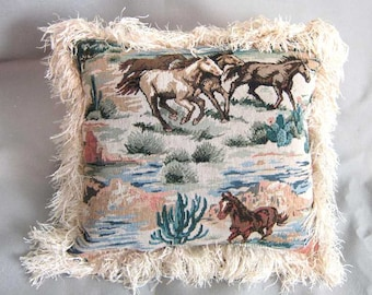 Markdown Sale...Handmade MUSTANGS WESTERN Horse Pillow w/Fringe Quality Upholstery Fabric