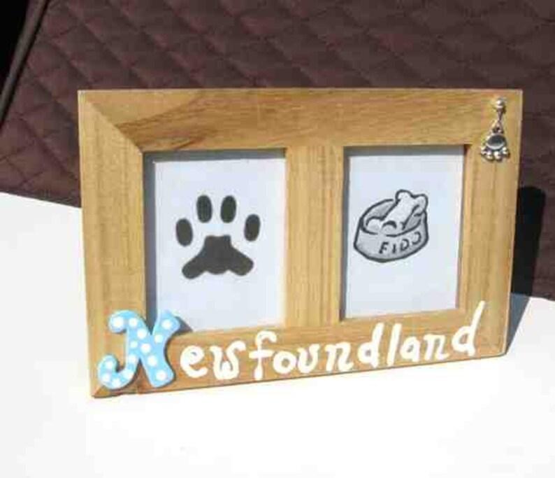 Final Markdown Sale...NEWFOUNDLAND Dog Breed Wood Desktop Double Photo Frame wPawprint Charm