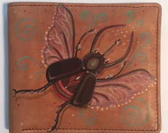 Beetle hand painted brown leather wallet with interior nylon.