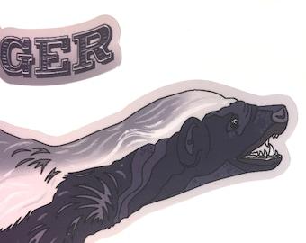 Honey Badger Sticker with gloss laminate for inside or outside use.