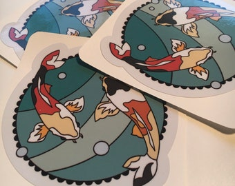 Koi Fish Pond vinyl sticker with gloss laminate for inside or outside use.