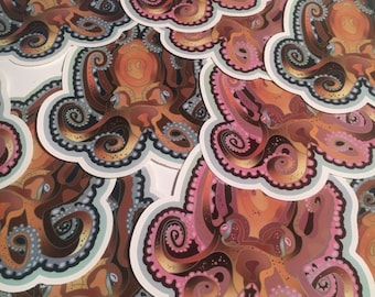 """Octopus, vinyl sticker with gloss laminate 5.5"""" High. Inside or outside use."""