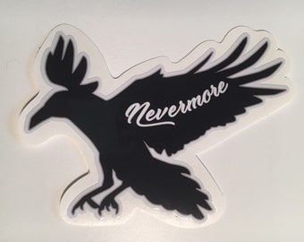 """The Raven contour cut sticker with gloss laminate. 5.2"""" wide. Inside or outside use."""
