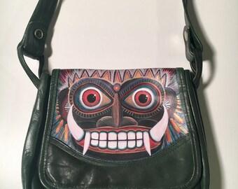 Face Purse, Protector green leather purse