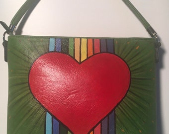 Rainbow Heart Hand painted vinyl purse.
