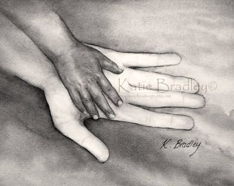 NEW Large and Small Hand in Black and White 5x7 adoption print