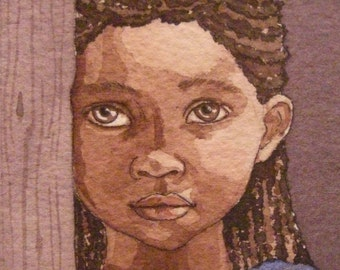 Shy - Ethiopian orphan, 2.5 x 3.5 ACEO print