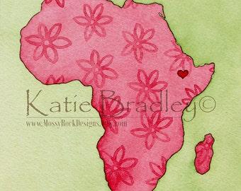 "NEW I love Ethiopia ""pink flowers"" 5x7 print"