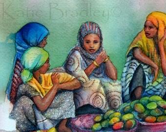 NEW Mango Sellers in Harar, Ethiopia, 10x15 art print
