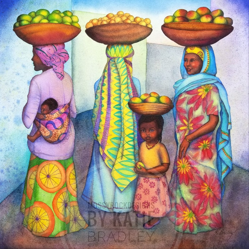 NEW Beauty and Grace, Ethiopian fruit sellers - 12x12 print