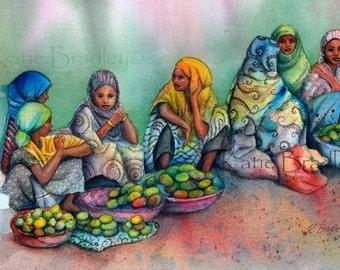 NEW Mango Sellers in Harar, Ethiopia, 8x12 art print