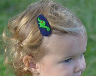 Felt Hair Clip, No Slip, Baby Girl Bow, Felt Hair Bow, Bows For Girls, Hair Pin, Girl Barrette, Felt Dino, Girly Dinosaur, Navy Blue