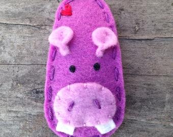 Felt Hair Clip, Hippo, Animal Series, Girls Hair Clips, Baby Hair Clip, Purple Hair Clip, Wool Felt Hair Clip