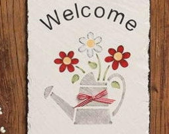 Watering can, daisy & posy, handpainted slate