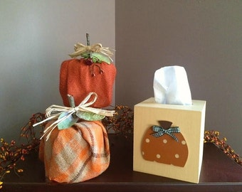 Burlap Pumpkins, set of 2