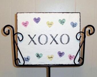 Valentine Conversation Hearts Slate and holder