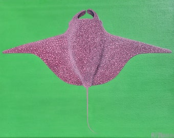 Pink Manta Ray - Original acrylic painting on canvas - 11x14 inch