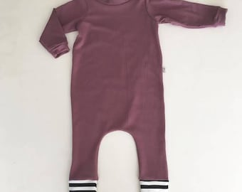 Aubergine Pull through Romper, Baby Romper, Bamboo Long Sleeve Romper, Baby one piece, Playsuit, Harem Romper