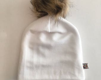 NEW! Fur Pom Pom White Bamboo Slouchy Hat Mama and Me Size options Baby/Toddler/Mom