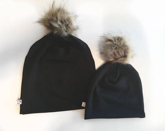 NEW! Fur Pom Black Bamboo Slouchy Hat Mama and Me Size options Baby/Toddler/Mom