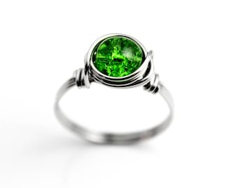 Sterling Silver Ring - Birthstone Ring - Green Ring - Green Wire Wrapped Ring - Beaded Rings - Rings For Women - Wire Ring - Statement Ring
