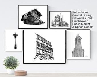 Printable Seattle Wall Art Bundle, Digital Seattle Landmarks Wall Decor, Printable Seattle Architecture Prints, Seattle Art Digital Download