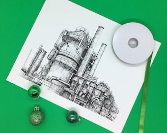 Seattle Architecture Gas Works Park Wall Art Decor Greeting Card Digital Printable Download Set Bundle