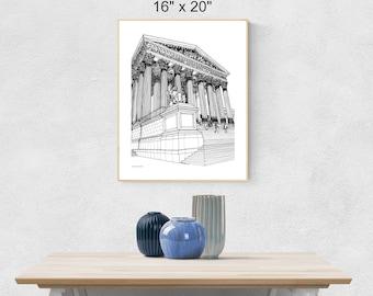 Supreme Court of the United States Digital Print, SCOTUS Printable, Supreme Court Wall Art, American Architecture Print, US Supreme Court