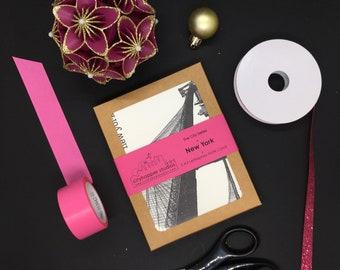 New York City Landmarks Letterpress Card Set   New York City Card   New York City Gift   New York City Art   Christmas Gift   Gifts Under 25