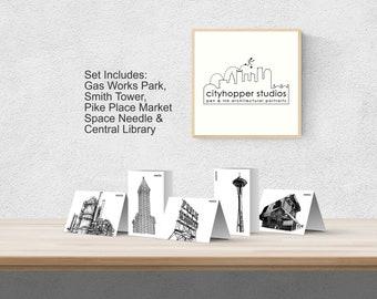 Printable Seattle Greeting Cards, Digital Seattle Note Cards,  Seattle Architecture Digital Card Bundle, Seattle Christmas Card, Seattle Art