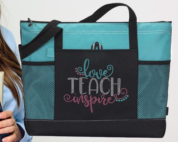 Teacher Gifts, End Of Year Gifts, Teacher Book Bag , Teacher Assistant Tote, Bling Rhinestone Tote,Teach Love Inspire , Teacher Tote Bag,