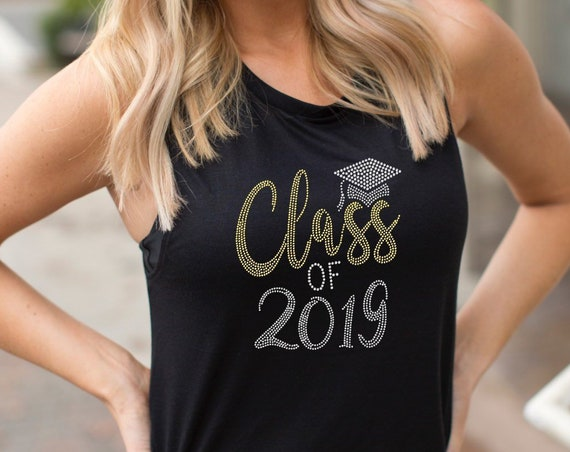 Graduation shirt, class of 2019, high school graduation, college graduation, graduation gifts, rhinestone bling shirt, graduation gifts her