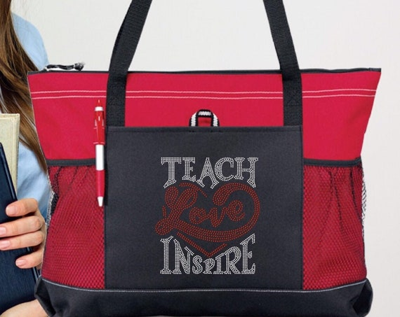 Teacher Tote , teacher gift, gifts for teacher, teach love inspire, bling teacher tote, rhinestone teacher gift