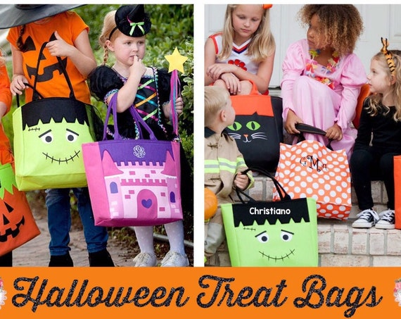 Personalized Halloween Bag, Personalized Trick Or Treat Tote, Girls Trick or Treat , Boys Trick or Treat , Monogram Halloween, Frankenstein